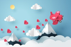 Paper art of pink plane flying and scatter heart in the sky, origami and valentine's day concept, vector art and illustration.