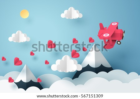paper art of pink plane flying