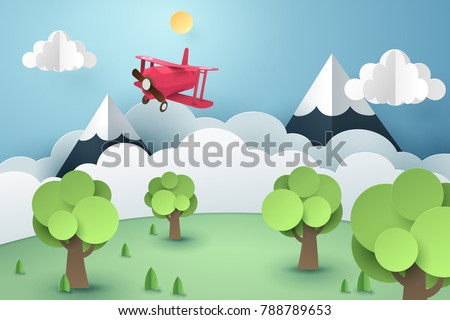 Paper art of pink plane flying in the sky, origami and travel  concept, vector art and illustration.