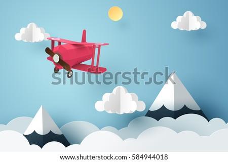 paper art of pink plane flying