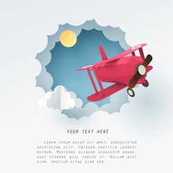 Paper art of red airplane fly through a white cloud with copy space for text, vector art and illustration.