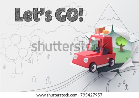 Paper art of red car jumping out from 2D sketch to be 3D paper with let's go text, Origami idea and start up or adventure concept, vector art and illustration.