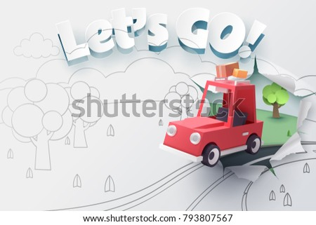 Paper art of red car jumping out from 2D sketch to be 3D paper with ripped let's go text, Origami idea and start up or adventure concept, vector art and illustration. ストックフォト ©
