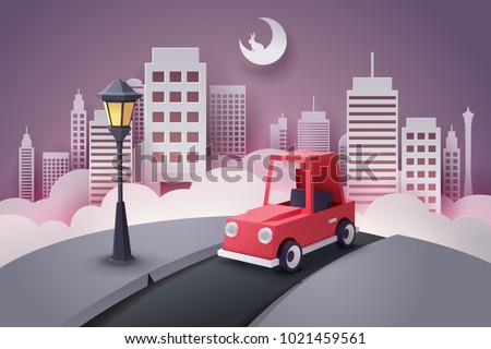 Paper art of red car running out from the city at night, vector art and illustration.