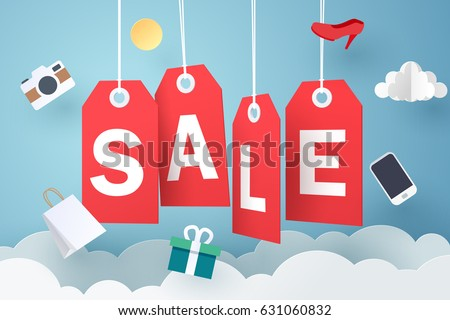 Paper art of Sale tag hanging on sky, shopping and business promotion concept, vector art and illustration.