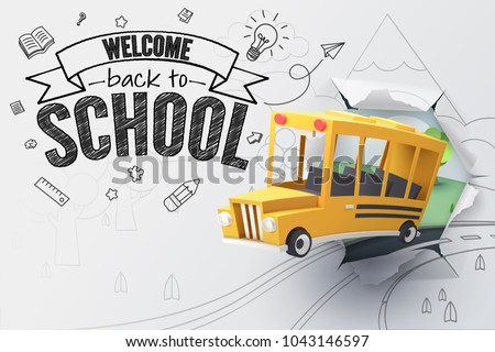 Paper art of school bus jumping out from sketched paper, back to school concept, vector art and illustration.