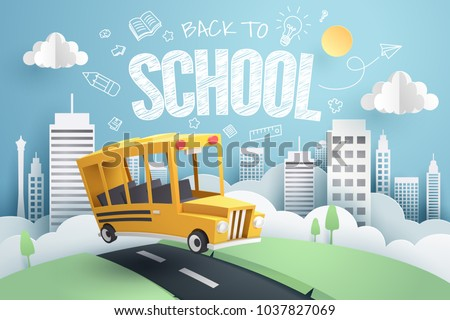 Paper art of school bus running out from city to school, back to school concept, vector art and illustration.