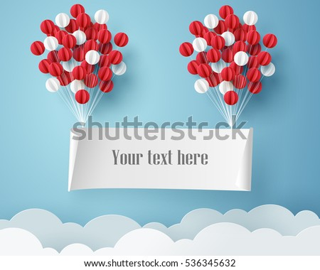 Paper art of signboard hang on sky with balloon, template for text and label, vector art and illustration.