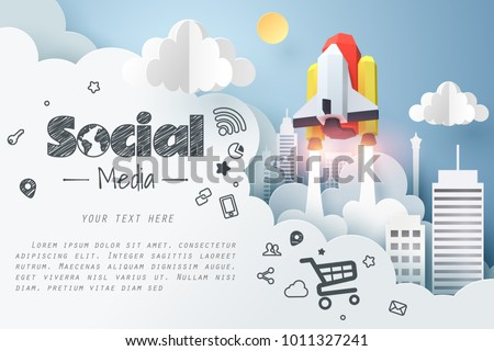 Paper art of space shuttle launch from city to the sky, social media marketing concept and start up business idea, vector art and illustration.