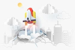 Paper art of space shuttle launch from 2D sketch to be 3D paper , start up business concept and exploration idea, vector art and illustration.