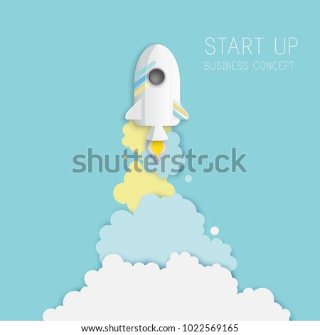 Paper art of space shuttle launch to the sky. Blue sky, fluffy clouds. Rocket launch. Start up business concept and exploration idea. Pastel colors