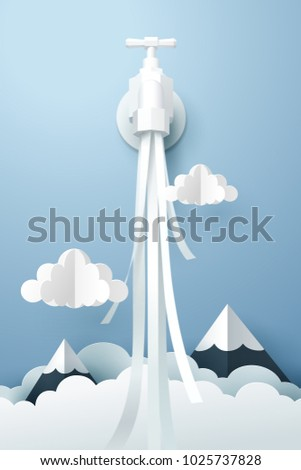 paper art of tap with flowing