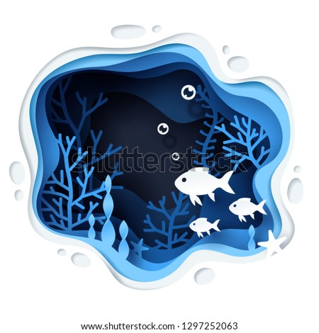 Paper art of the fish in under water world, vector art and illustration.