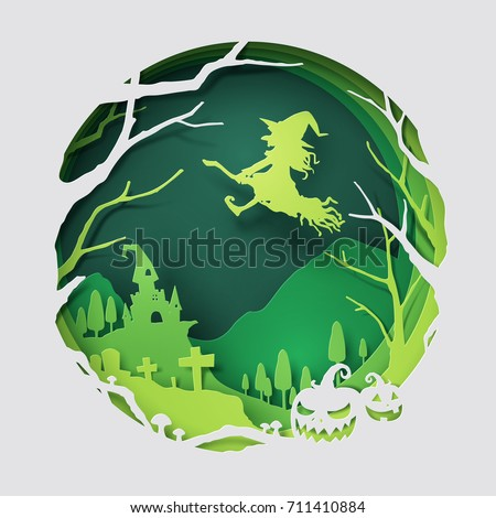 Paper art of witch flying above an old castle, Halloween and holiday celebration, vector art and illustration.
