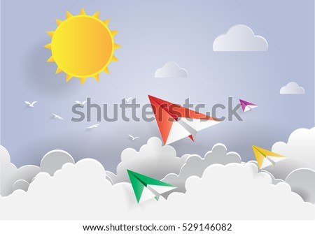 Paper Art , Paper Plane fly in Blue Sky