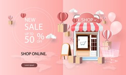 paper art shopping online on smartphone and new buy sale promotion pink backgroud for banner market ecommerce.