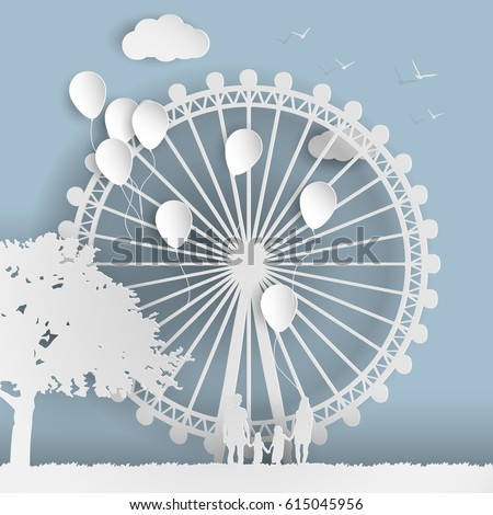 Paper art style an amusement park with a family, a Ferris wheel and balloons paper cut style.