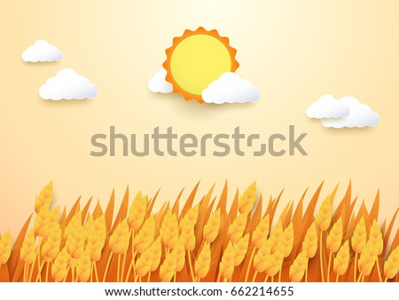 Paper art style Barley field with sun and cloud background