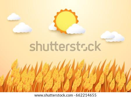 paper art style barley field...