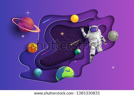 paper art style of astronaut in