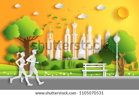Paper art style of landscape in the city with couple running, sport and activity concept, flat-style vector illustration.