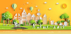 Paper art style of landscape in the city with sunset on summer, people enjoy fresh air in the park, flat-style vector illustration.