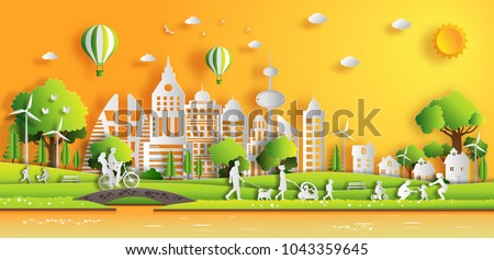 paper art style of landscape in