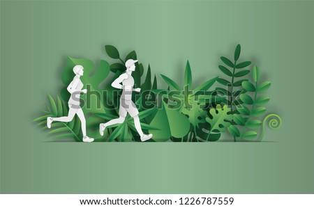 Paper art style of landscape in the park with couple running, sport and activity concept, beautiful green leaves background, flat-style vector illustration.