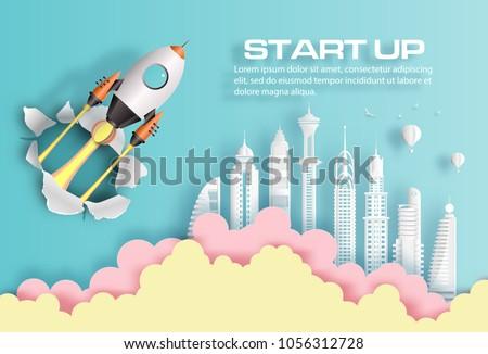 paper art style of rocket