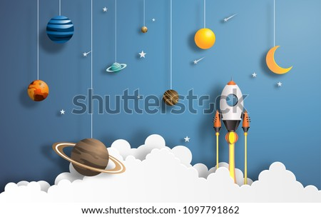 Paper art style of rocket flying in space, start up concept, flat-style vector illustration.