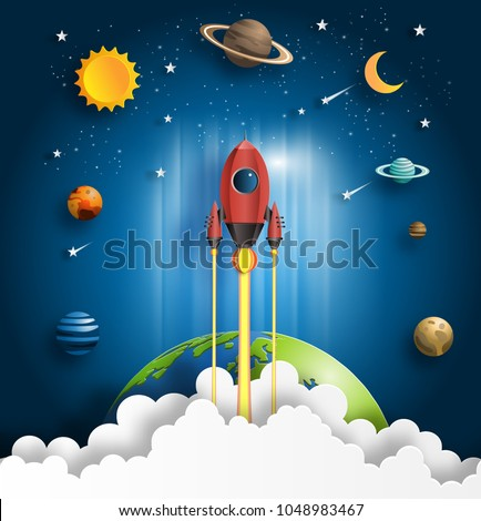 Paper art style of rocket flying over the earth, start up concept, flat-style vector illustration.