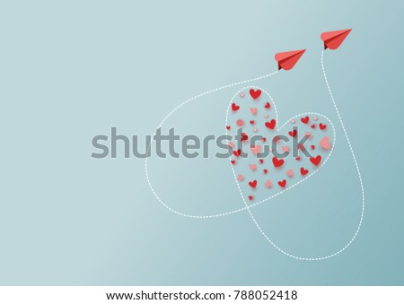 paper art style of valentine's