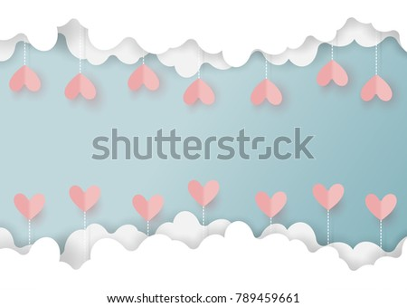 Paper art style of valentine's day greeting card and love concept.Origami hearts hanging from clouds on blue sky background.Vector illustration.