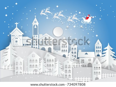 paper art style  winter holiday