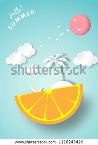 paper art summer background
