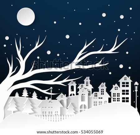 paper art Winter Snow Urban Countryside Landscape City Village with full moon,Happy new year and Merry christmas