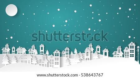 paper art winter snow urban