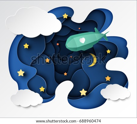 Paper art with a green dirigible flying in the night sky, in white clouds on a background. Origami, Birthday, valentine's day concept, vector art and illustration.