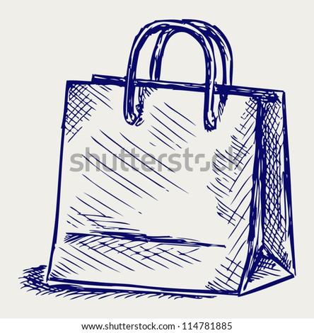 Paper bag. Doodle style
