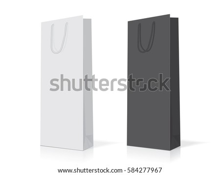 paper bag for alcohol easy to change colors mock up vector template