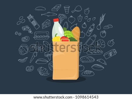 Paper bag full of groceries with sketches on dark blue background. Healthy food. Grocery store. Vector illustration.