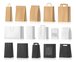 Paper bag mockups of shopping, gifts and food packages realistic vector design. White, brown and black bags or boxes, made of craft paper or cardboard with cord handles and transparent windows