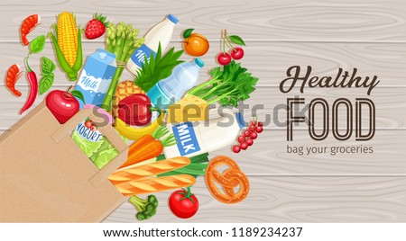 Paper bag of groceries on a wooden background, top view. Concept of healthy food with dairy products, bakery, vegetables and fruits. Vector illustration.