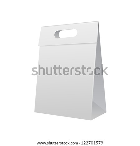 Paper Bag Package Folded, Close, Grayscale With Handle. Ready For Your Design. Snack Product Packing Vector EPS10