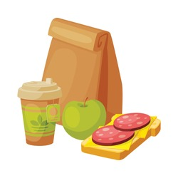 Paper Bag Package with Healthy Breakfast, Cardboard Cup of Tea, Apple, Sandwich with Sausage and Cheese Vector Illustration