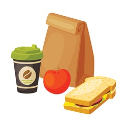 Paper Bag Package with Healthy Breakfast, Coffee Cup, Apple, Sandwich Vector Illustration