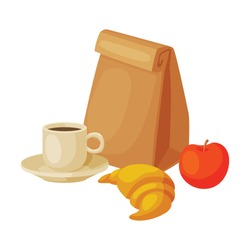 Paper Bag Package with Healthy Breakfast, Croissant, Apple and Cup of Coffee Vector Illustration