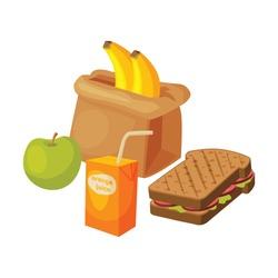 Paper Bag Package with Healthy Breakfast, Orange Juice, Apple, Banana, Sandwich Vector Illustration