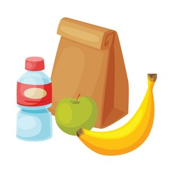 Paper Bag Package with Healthy Breakfast, Plastic Bottle of Water, Apple, Banana Vector Illustration