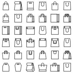 Paper bag vector icon set, line design